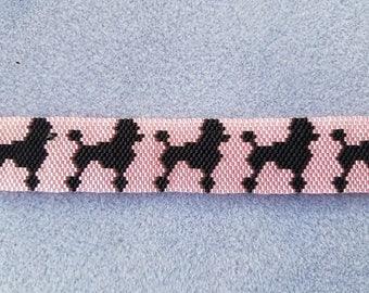 Peyote stitch Black Poodles on Pink