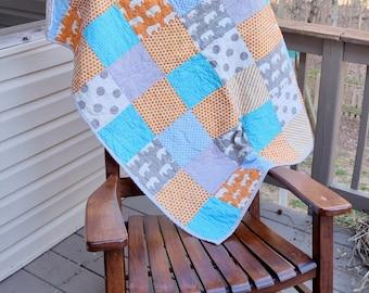 Elephant Baby Quilt- Modern baby quilt, Aqua baby Quilt, Orange baby Quilt, Gray baby quilt, Baby boy crib bedding, Baby boy quilt