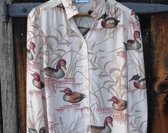 Duck, Duck, Goose Novelty Decoy Hunting Print Seventies Shirt