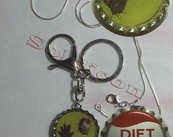 Old Diet Pepsi Iron man Soda Cap Keychain, Pendant, Necklace