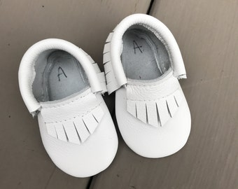 White Leather Baby Toddler Moccasins Moccs
