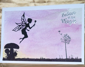 "Handmade Twilight Fairy ""Believe in the magic"" card, waiting to be personalised"