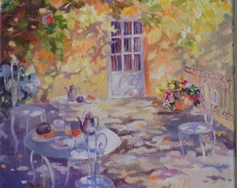 French terrace painting, oil painting