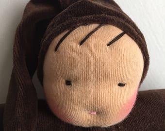 Waldorf doll ecofriendly toy natural fiber, brown bunting baby, Waldorf toy, cuddle doll