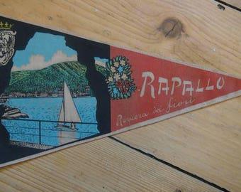 Italian Travel Pennant, Vintage Souvenir Flag from Rapallo Riviera Dei Fiori, Travel Memorabilia, Flags, Bunting, Decorative, Advertising