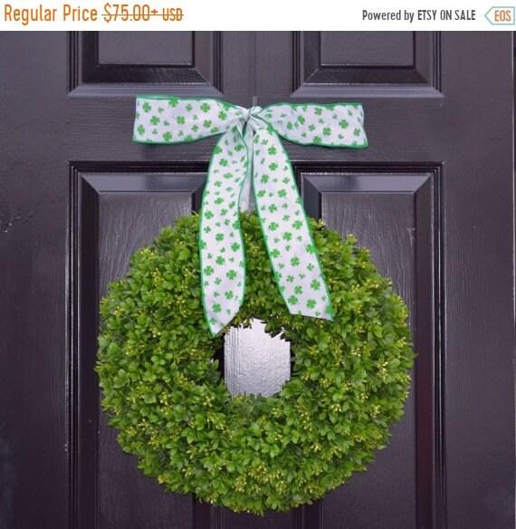 SUMMER WREATH SALE Shamrock Boxwood St Patrick Day Wreath St Patricks Day Boxwood Wreath- Irish Decor- Door Wreath- Removable Bow Year Round