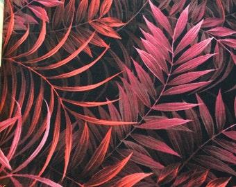 "P & B TEXTILES, ""Wild Things"", 100% Cotton, Batik ferns in Pinks and Oranges, Black Background"
