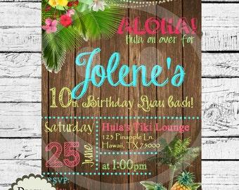 Hawaiian Luau birthday party invitation/package printables