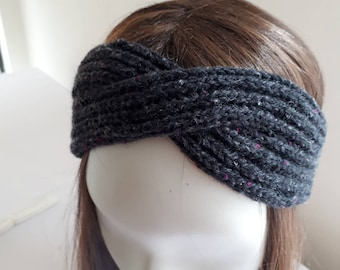 Hand knitted headband, black with a fleck of colour
