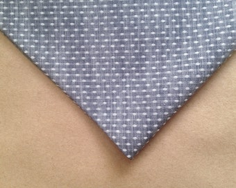 Handmade Pin Dot Chambray Pocket Square // groomsmen gift