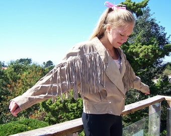 Fringe Leather Jacket, Suede Fringe Jacket, Tan fringe jacket, 80s Fringe jacket, size S / M