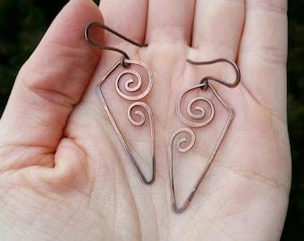 Hammered Copper Wire Wrapped Earrings Oxidized Swirly Earrings