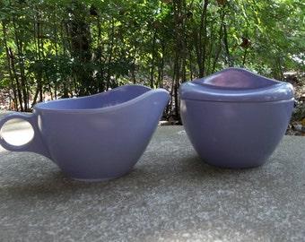 Vintage WINDSOR Melmac Lilac Melamine Sugar Bowl & Creamer Mid Century Melmac Pitcher Farmhouse Tea Set RV Dishes
