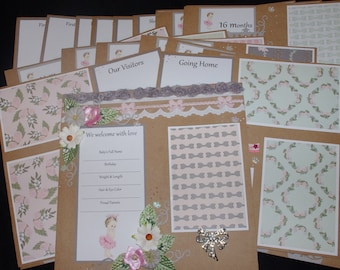 Welcome Princess Baby Girl 23~12x12 Premade Scrapbook Layouts Months 1-24 just add photos
