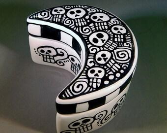 Day of the Dead Art - Sugar Skull Decor - Ceramic, Hand Painted Pottery - Moon Shaped Trinket Box