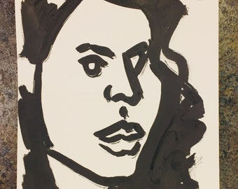 Female ink portrait on paper 9x12 inches