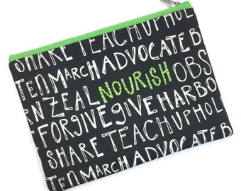 Nourish—Hand Embroidered Pouch, Bag, Purse, Green, Vegan