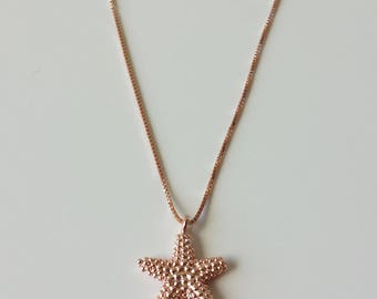 Sterling Silver Starfish Charm Necklace / Rose Gold Charm Necklace/ Sterling Silver Charm Necklace/ Starfish / Rose Gold Plated