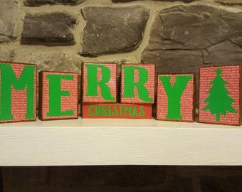 Christmas Decor - Christmas Decorations - Holiday Decor - Merry Christmas Decor - Wood Block Decor - Home Decor