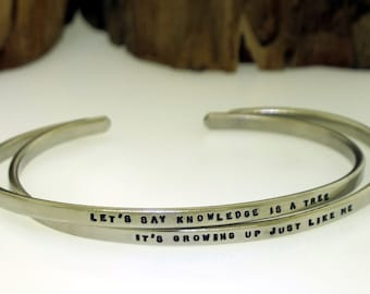 Hand Stamped Cuff Bracelet, NICKEL SILVER cuff, personalized message, custom made cuff, inspirational quote jewelry (tiny text)