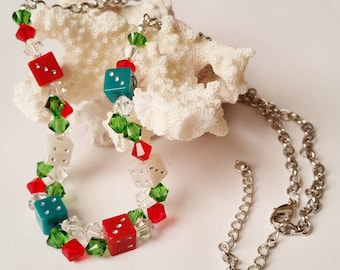 Christmas Necklace, Red and Green Swarovski Jewelry, Casino and Gambling, Gamer Necklace, D6 Geek Jewelry