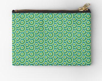 Green coin purse, Blue retro purse, Retro tablet case, Green purse, Retro cosmetic bag, Retro change purse, zipped pouch, Studio pouch