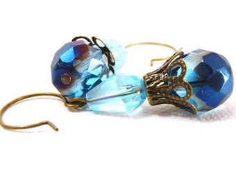 Glowing Blue Drop Earrings - brass
