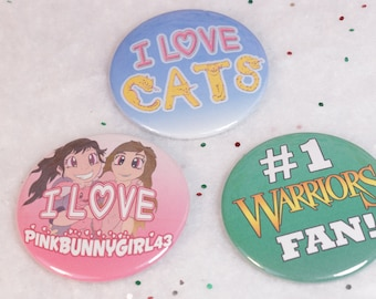 Favorite Set of 3 - 2.25 in Pin Back Buttons