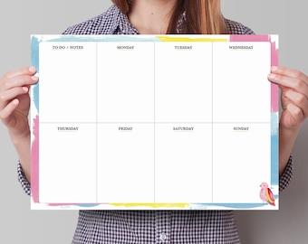 Dry Erase Wall Planner, Dry Erase Weekly Calendar. Weekly wall planner, wall planner, erasable weekly planner, dry wipe planner, wo1p.