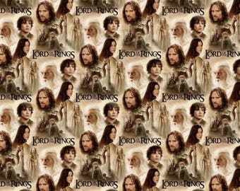 Multi Lord of the Rings Two Towers Collage Cotton Woven