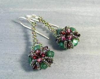 Red and Green Earrings Beaded Garnet Earrings Gemstone Jewelry, Emerald Green Aventurine, Unique Earrings Handmade Gift, Beadwork, Sterling