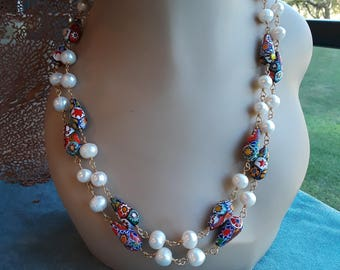 Two strand freshwater pearl and artist painted tubed beaded necklace
