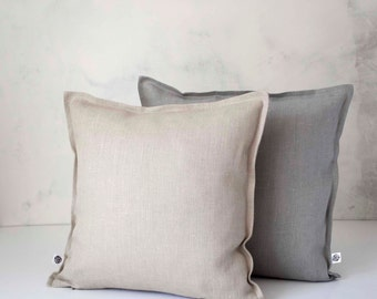 Set of linen throw pillows - decorative linen pillow covers grey and natural - decorative cases - cushion covers 0004