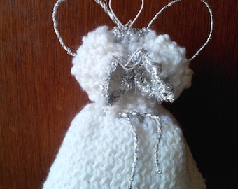 Carved figurine: an Angel for a Christmas fairy (copper wire and wool)