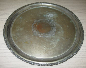 Silver Plate Round Serving Tray Scroll Rim #2523 Barbour Silver Co 1892-1898