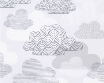 219284 light grey with cloud laminate organic fabric by Cloud 9 First Light