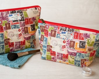 Postage Stamp Mail Vintage Travel Postcard Gift Makeup Toiletry Wash Bag