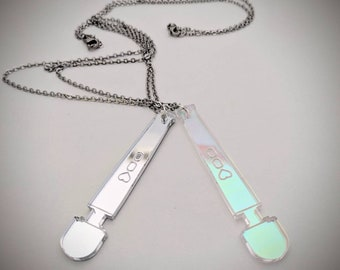 Hitachi Magic Wand Necklace, Iridescent Holographic Adorable Sex Positive GeekStar Self Care Jewelry