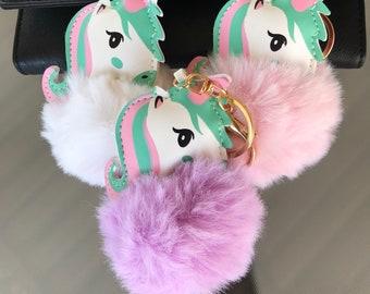 Unicorn pom pom keychain