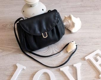 Vintage 80s Navy Blue Leather handbag, Small leather shoulder handbag, Vintage ladies purse, Genuine leather purse crossbody, Navy blue bag