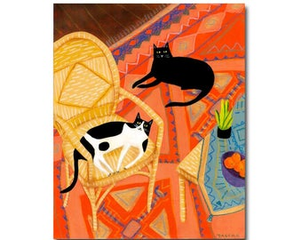 Original painting Cats on an aztec rug Cute Black cat folk art painting original acrylic cat portrait painting by artist Tascha