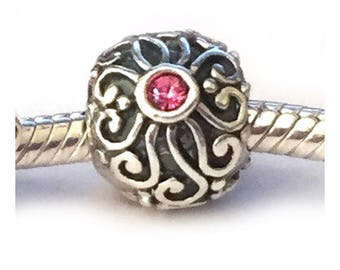 Antique Look Sterling Silver Swirl Large Hole Bead Pink Cubic Zirconia