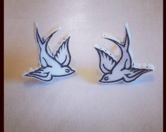 Tattoo Style Swallow Earrings in Black or White