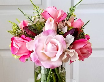 Mother's Day Gift-Pink Flowers Arrangement-Pink Real Touch Flowers-Faux Floral Arrangement-Flower Arrangement-Real Touch Flowers