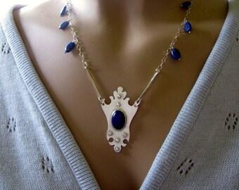 Sterling Silver Pendant Necklace, Lapis Lazuli Pendant, Handmade Sterling Silver Jewelry