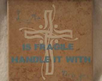Fragile handle with Prayer tile 8x8