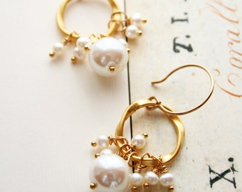 Pearl Earrings, Bridal Earrings, Wedding Jewelry, Bridesmaid Earrings
