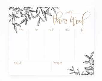 Weekly Planner Notepad   Illustrated Weekly Desk Notepad To Do List with Hand Lettered Calligraphy : Woodland Floral Weekly Planner Pad