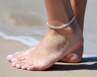 White Anklet - White Ankle Bracelet - Arrow Anklet - Foot Jewelry - Foot Bracelet - Bridal Anklet - Summer Jewelry - Beach Jewelry