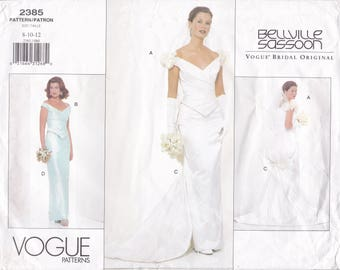 FREE US SHIP Vogue 2385 Designer Bellville Sassoon Wedding Bridal Gown Sewing Pattern Out of Print 8 10 12 Bust 31.5 32.5 34 Uncut